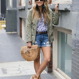 LOFT Distressed Patch Denim Shorts